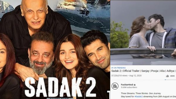 Sadak 2 becomes the most disliked Bollywood trailer