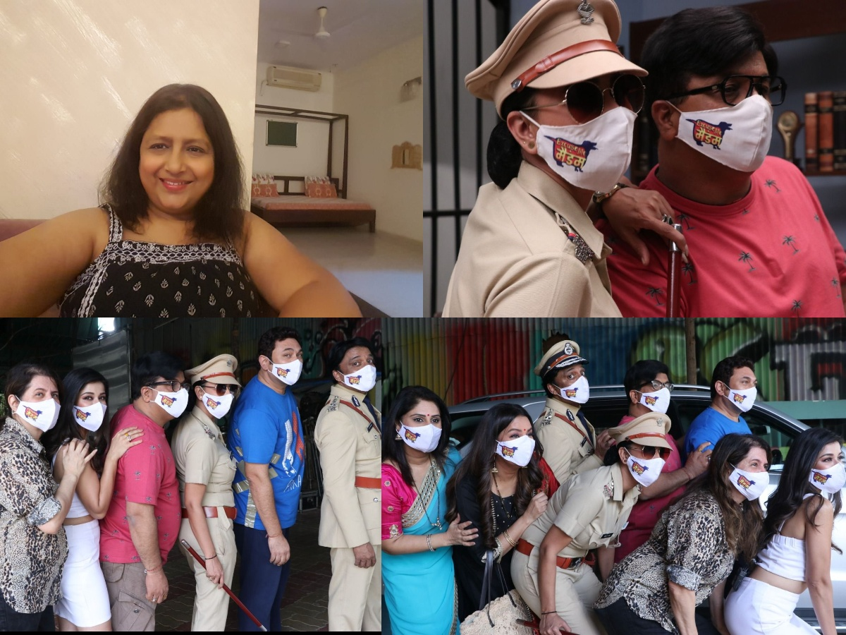 Cast of Excuse Me Maadam wear special masks