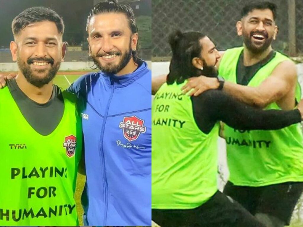 Ranveer Singh and MS Dhoni's bromance | Ranveer Singh Gives MS Dhoni the Biggest Hug as They Play Football Together
