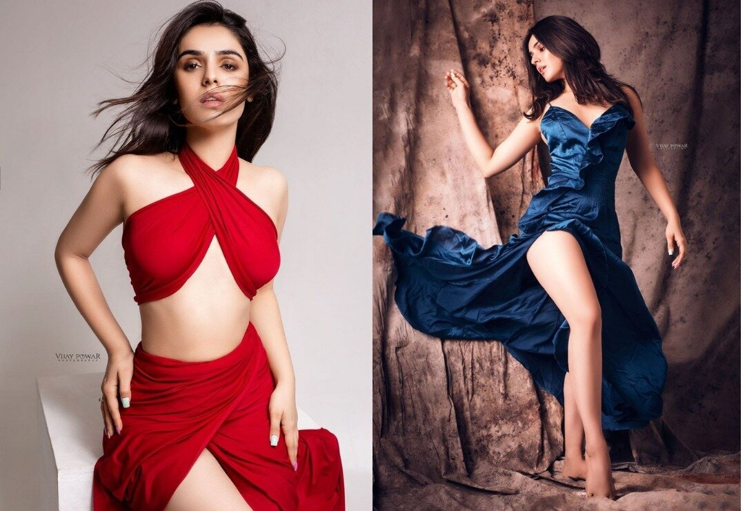 Actress Sidhika Shamra stuns everyone with her sexy blue and red gown; Which one did you like?
