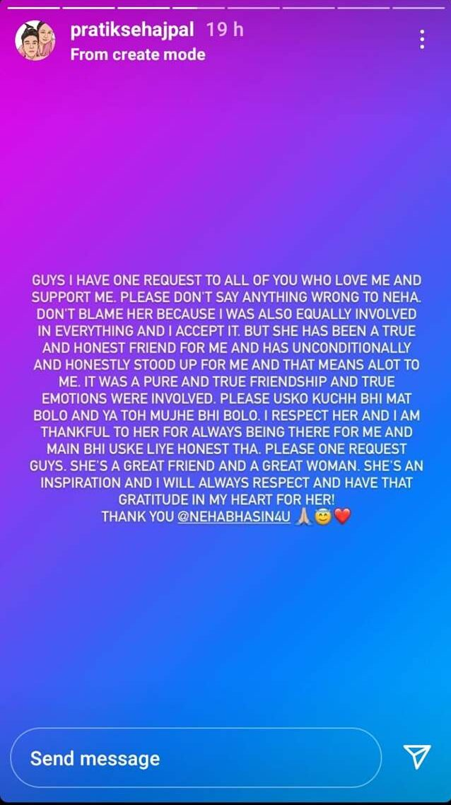 Pratik Sehajpal requests his fans to stop trolling Neha Bhasin and her family