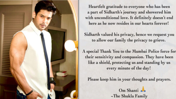 Sidharth's family issues an appeal